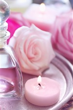 Pink roses, candle, oil