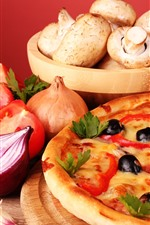 Preview iPhone wallpaper Pizza, pie, mushroom, tomato, onion