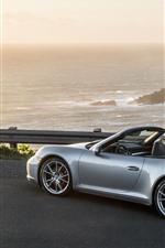 Preview iPhone wallpaper Porsche 911 Carrera 4S silver supercar side view