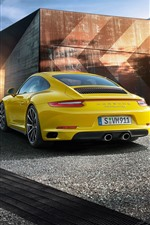 Porsche 911 Carrera 4S yellow supercar rear view