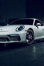 Preview iPhone wallpaper Porsche 911 GT3 white supercar front view