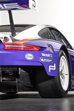 Porsche 911 RSR blue racing car rear view