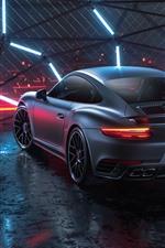 Preview iPhone wallpaper Porsche 911 Turbo S black car rear view