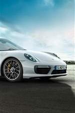 Preview iPhone wallpaper Porsche 911 Turbo white supercar side view