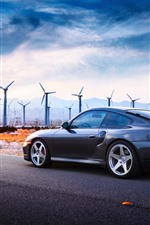 Preview iPhone wallpaper Porsche Turbo car, windmills, road