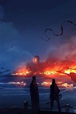 Puerto, naves, fuego, noche, imagen del arte de la fantasía