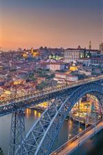 Portugal, Porto, river, bridge, city, morning