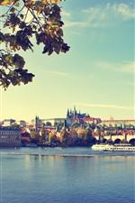 Preview iPhone wallpaper Prague, bridge, river, city