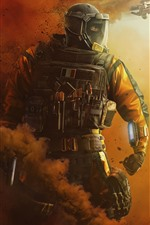 Preview iPhone wallpaper Rainbow Six Siege, soldier, smoke, fighter