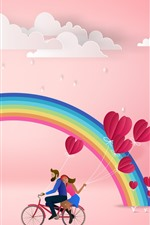 Rainbow, clouds, lovers, love hearts, pink background
