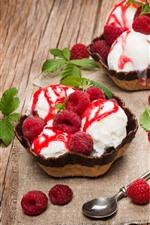 Preview iPhone wallpaper Raspberry, ice cream, dessert