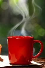 Copo vermelho, café, vapor, cupcake