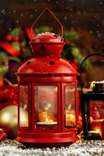 Red lantern, Christmas balls, decoration
