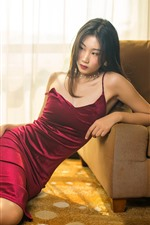 Preview iPhone wallpaper Red skirt Asian girl, pose, sofa, room