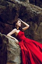 Preview iPhone wallpaper Red skirt Asian girl, rocks, pose