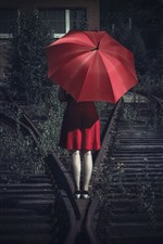 Preview iPhone wallpaper Red skirt girl back view, umbrella, railroad