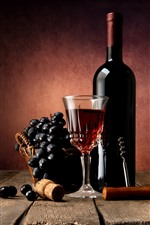 Red wine, grapes, bottle, glass cup