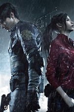 Preview iPhone wallpaper Resident Evil 2, boy and girl, rain