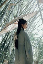 Preview iPhone wallpaper Retro style girl, umbrella, bamboo forest