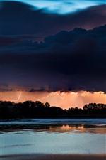 미리보기 iPhone 배경 화면 강, 나무, 밤, 번개, 구름