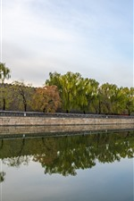 Preview iPhone wallpaper River, water reflection, trees, wall, Beijing, China