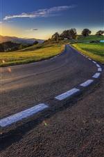 Road, mountains, grass, sunshine, morning