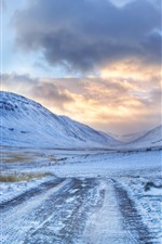Preview iPhone wallpaper Road sign, road, mountains, snow, winter, clouds