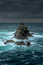 Rocas, mar, tormenta, nubes