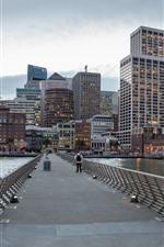 Preview iPhone wallpaper San Francisco, California, USA, skyscrapers, bridge, sea, city