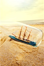 Preview iPhone wallpaper Sand, bottle, beach, ship model, sea