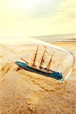 Arena, botella, playa, modelo de barco, mar.