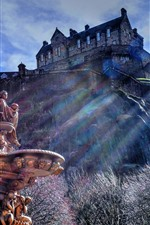 Preview iPhone wallpaper Scotland, Edinburgh, fountain, castle, statue