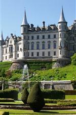 Scotland, castelo, jardim, árvores, fonte