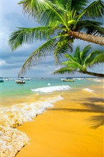 Preview iPhone wallpaper Sea, beach, boats, palm trees, paradise, summer