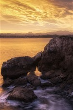 Mar, Costa, rocas, faro, nubes, atardecer