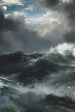 Preview iPhone wallpaper Sea, waves, clouds, moon, painting