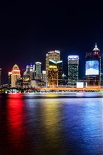 iPhone fondos de pantalla Paisaje urbano hermoso de Shangai, noche, rascacielos, luces, río, China
