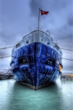Preview iPhone wallpaper Ship, dock, HDR style