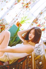 Preview iPhone wallpaper Short hair Chinese girl, room, chair, window, curtain