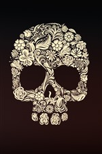 Preview iPhone wallpaper Skull, flowers, art picture