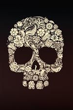 Cráneo, flores, Foto del arte