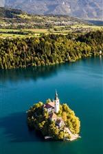 Eslovenia, lago Bled, isla, ciudad, árboles, montañas, mañana