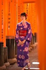Preview iPhone wallpaper Smile Japanese girl, kimono, walk
