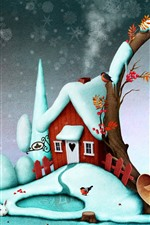Preview iPhone wallpaper Snow, house, birds, Christmas, creative picture