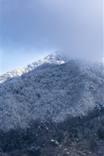 Snowy mountain, snow, winter, clouds