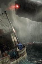 Preview iPhone wallpaper Spaceship, rain, ship, sea, storm, art picture