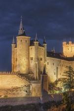 Espanha, Alcazar, Segovia, castelo, noite