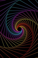 Spiral, rainbow lines, black background, abstract