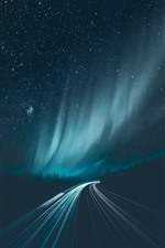 Preview iPhone wallpaper Starry, northern lights, road, light lines, night