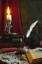 Bodegón, libro, pluma, tetera, gafas, vela, estilo retro